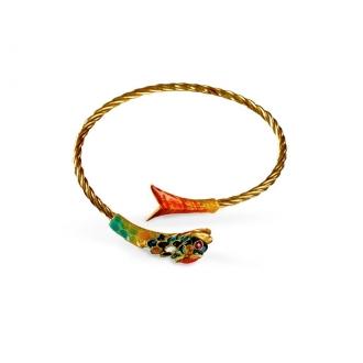 Pulsera Pez Vintage en Oro, Rúbies y Coral. Joyerías Barcelona