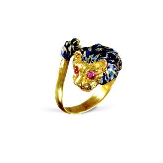 Anillo Vintage León. Oro y Esmaltado Azul. Joyerías Barcelona