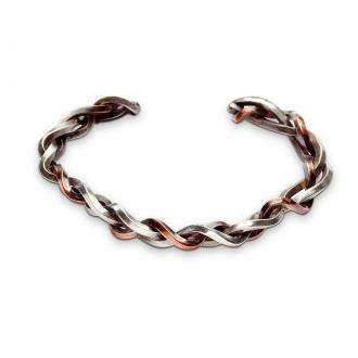 Pulsera esclava maciza en plata y cobre trenzada. Joyerías Barcelona