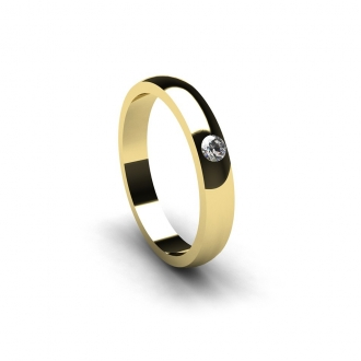 Alianza de boda creada en oro amarillo con brillante de 0,05 Cts. Joyerías Barcelona