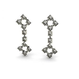 Pendientes Alargados y Articulados en Oro Blanco con Diamantes. Joyerías Barcelona