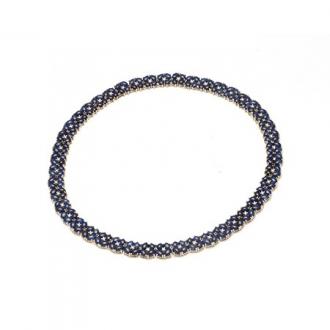 Collar Blauet en oro amarillo, línea infinita articulada de zafiros cabujones ovalados. Joyerías Barcelona