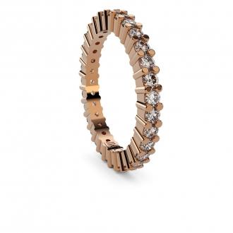Alianza de compromiso doble vía en oro amarillo con 31 diamantes talla baguette. Joyerías Barcelona