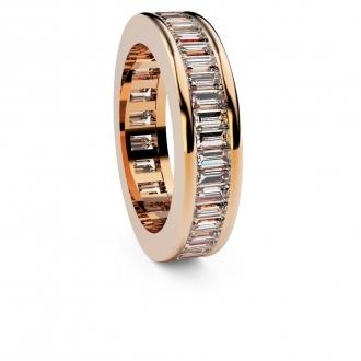 Aliança de compromís doble via en or rosa amb 44 diamants talla baguette. Joieries Barcelona