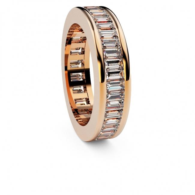 Alianza de compromiso doble vía en oro rosa con 44 diamantes talla baguette. Joyerías Barcelona