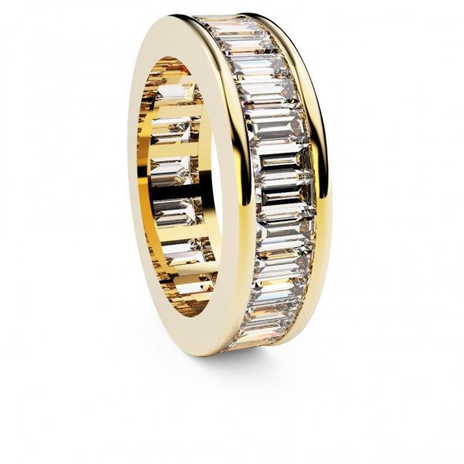 Alianza de compromiso en oro amarillo con 33 diamantes talla baguette. Joyerías Barcelona
