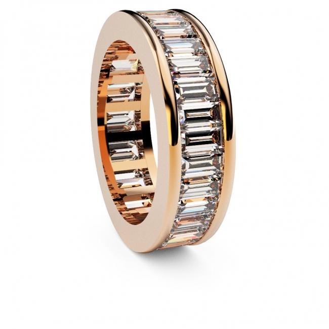 Alianza Doble Vía Baguette en Oro Rosa con 33 diamantes. Joyerías Barcelona