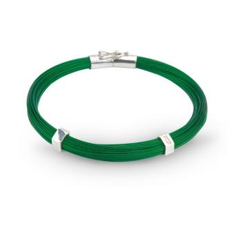Polsera creació fils d'acer verd i plata