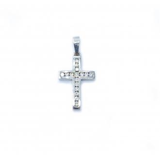 Cruz Diamantes Oro Blanco. Joyerías Barcelona