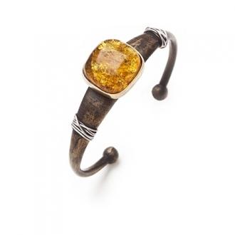 Polsera esclava de bronze amb fils de platí i àmbar. Joieries Barcelona