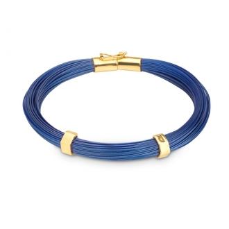 Pulsera Hilos de Acero Azul Marino y Oro. Joyerías Barcelona