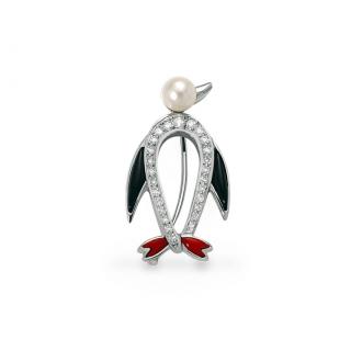 Fermall Pingüí en Or Blanc amb Brillants, Nacre, ònix i Perla. Joieries Barcelona