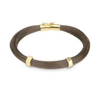 Polsera creació fils d'acer marró xocolata i or