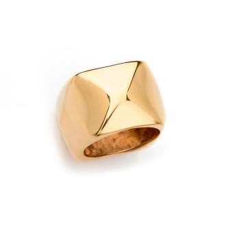 Anell en or rosa de disseny cubista. Joieries Barcelona