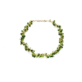 Collar Articulat en Or amb olivines. Joieries Barcelona