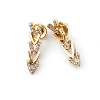 Pendientes Modelo Espiga en Oro con Diamantes. Joyerías Barcelona