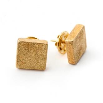 Arracades quadrats en or groc burinat. Joieries Barcelona