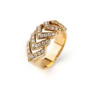 Anell en or amb diamants talla brillant. Joieries Barcelona