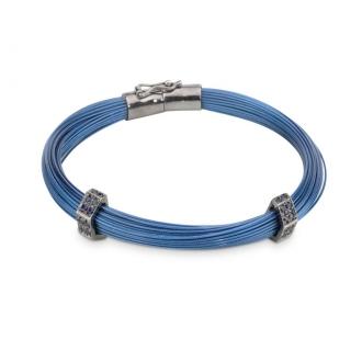 Polsera d'Acer Blau, Or i Safirs Blaus. Joieries Barcelona