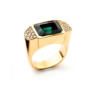 Anillo chevalier, oro con turmalina verdelita y diamantes. Joyerías Barcelona