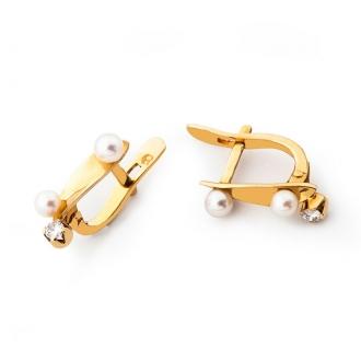 Pendientes infantiles en oro, con 2 perlas y 1 brillante. Joyerías Barcelona
