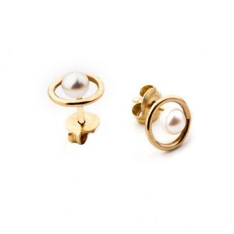 Pendientes infantiles, esfera en oro con perlas. Joyerías Barcelona