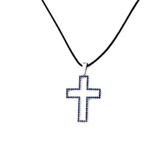 Penjoll en forma de creu, d'or blanc amb safirs blaus. Joieries Barcelona