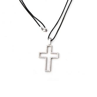 Penjoll en forma de creu, d'or blanc amb brillants. Joieries Barcelona