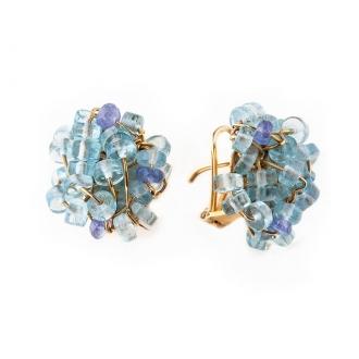 Pendientes en oro con topacios azules. Modelo Magrana. Joyerías Barcelona