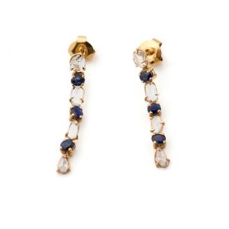Pendientes Vintage largos en oro con zafiros y diamantes. Joyerías Barcelona
