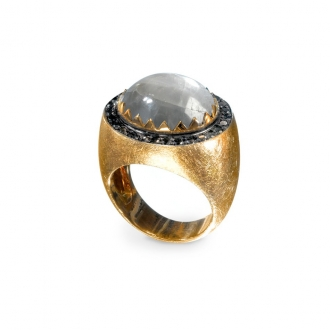 Anell Chevalier en Or amb Safir Silver. Joieries Barcelona