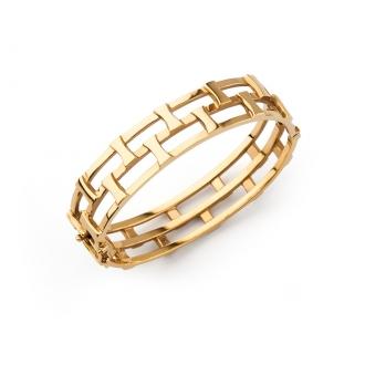 Esclava calada en or amb motius rectangulars. Joieries Barcelona