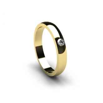 Aliança de casament creada en or groc amb brillant de 0,05 Cts. Joieries Barcelona