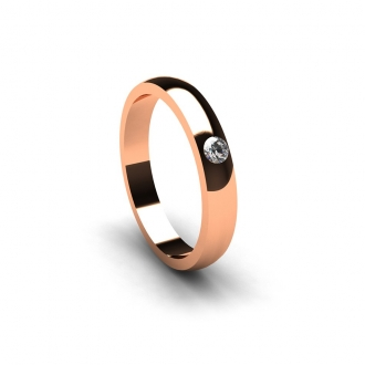 Aliança de casament creada en or rosa amb brillant de 0,05 Cts. Joieries Barcelona