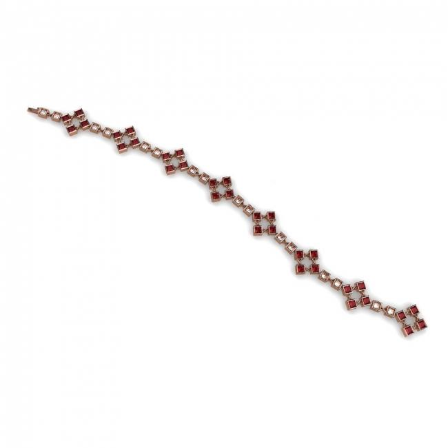 Pulsera Articulada en Oro Rosa con Rubíes y Diamantes. Joyerías Barcelona
