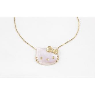 Colgante cara de Hello Kitty en nácar rosa, oro y brillantes. Joyerías Barcelona